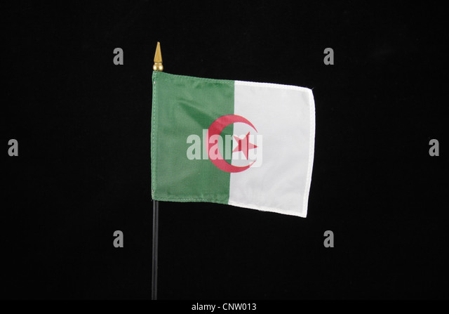 The national flag of Algeria on a black background. - Stock Image