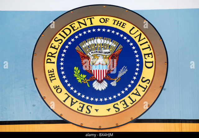 Presidential Seal on Air Force One by Presidents Kennedy and Johnson. It is at Pima Air and Space Museum, Tucson, - Stock Image
