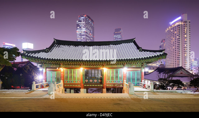 Bongeunsa Temple grounds in the Gangnam District of Seoul, South Korea. - Stock Image