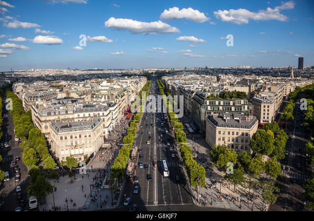 view from arc de triomphe stock photos view from arc de. Black Bedroom Furniture Sets. Home Design Ideas