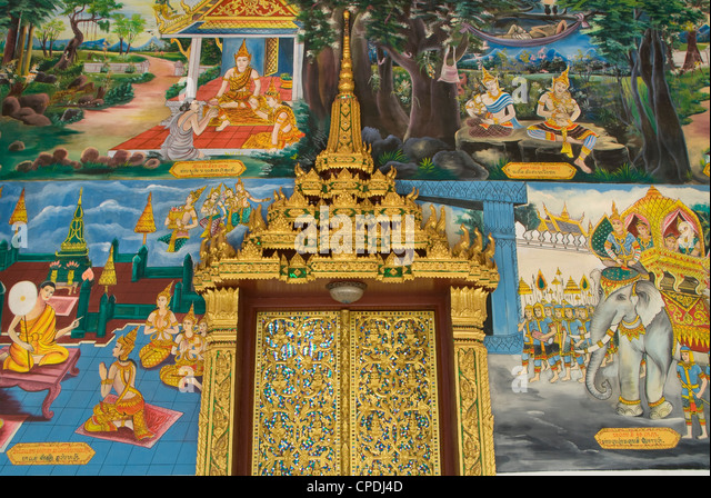 Decorative door and wall paintings, Wat Impeng, Vientiane, Laos, Indochina, Southeast Asia, Asia - Stock Image