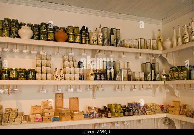 Olive oil products shop at Alacati Zeytin Vs.(Olive Etc.) Turkey - Stock-Bilder