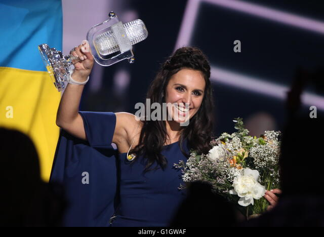 Stockholm, Sweden. 15th May, 2016. Singer Jamala representing Ukraine celebrates winning the 2016 Eurovision Song - Stock Image