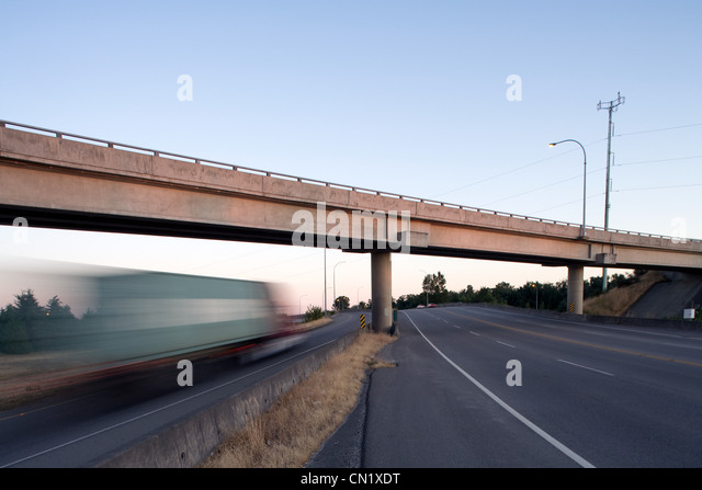 Highway overpass, Vancouver, Canada - Stock Image