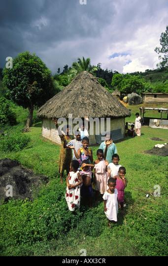 South pacific  Fiji Vitu Levu traditional village family - Stock Image