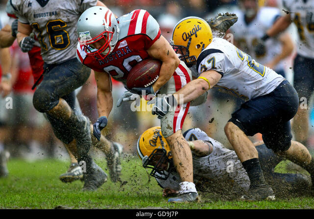 American football, Team Austria vs Augustana Vikings playing in the Charity Bowl XII, Stadium Hohe Warte, Vienna, - Stock Image