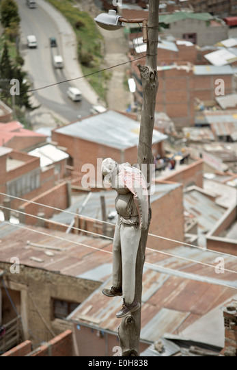 Puppet as scarecrow as a warning for thieves, La Paz, Bolivia, Andes, South America - Stock Image