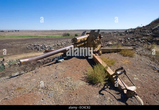 Artillery left of the yom kippur war on 'tel e-saki' on the Golan Heights in Israel - Stock Image