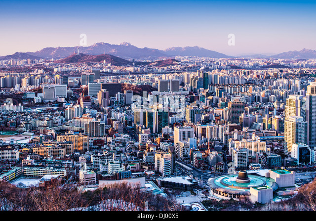 Seoul, South Korea afternoon skyline. - Stock Image