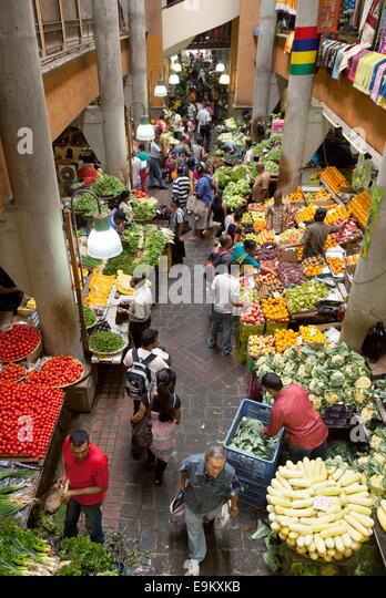 Local people shopping at the indoor food market, Port Louis, Mauritius, Africa - Stock Image