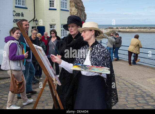 Staithes Festival of Arts and Heritage. Staithes, North Yorkshire, England, UK - Stock-Bilder