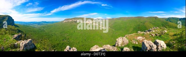 Spring Crimea Mountain country panorama - Stock Image