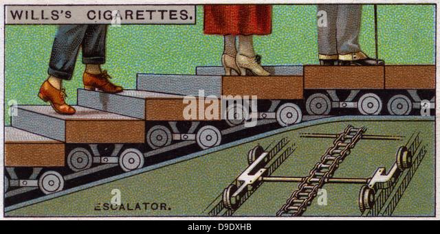 Engineering Wonders, 1927:  Escalator, Britain. - Stock Image