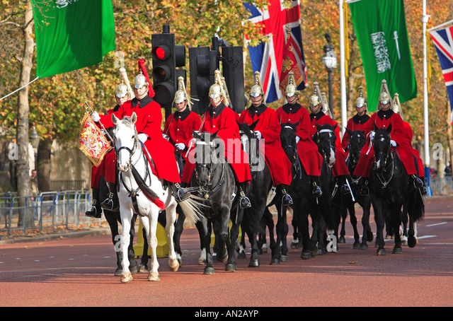 London, The Mall, Autumn,  Household Cavalry, Saudi Arabia King Visit - Stock Image