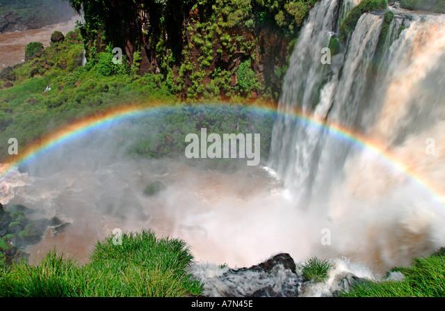 Brazil Argentina Panama border Iguazu National park Iguazu Falls argentina side rainbow - Stock Image