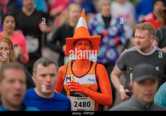 Edinburgh UK Apr 17 2016;  Runners in Holyrood park at the start of the Great Edinburgh Run 10 miles. credit steven - Stock Image
