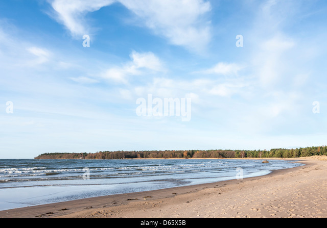 A cold and windy afternoon at Yyteri beach in Pori, Finland. The six-kilometer long sandy beach is famous for its - Stock Image