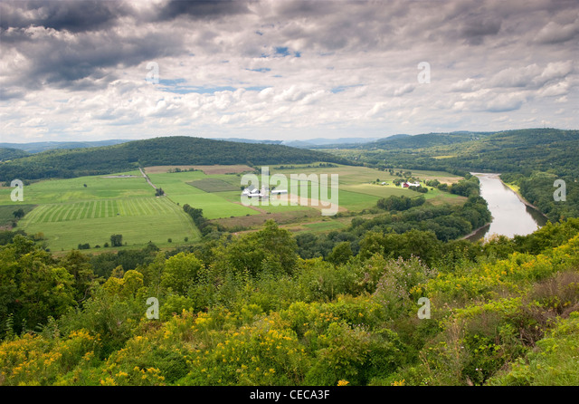 Farmland next to the Susquehanna river, Pennsylvania, which was used for French Asylum seekers during the French - Stock Image