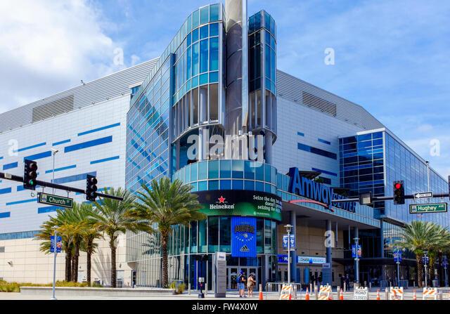 Amway Centre, Downtown Orlando, Florida, the sports stadium of the Orlando Magic Basketball team - Stock Image