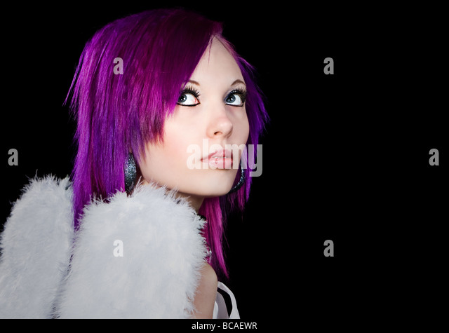 Alternative Girl with Angel Wings - Stock Image
