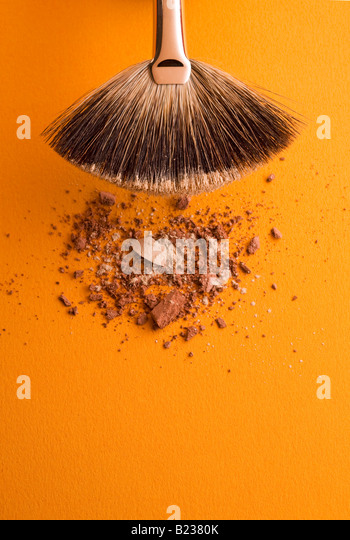 make up brush with powder - Stock Image