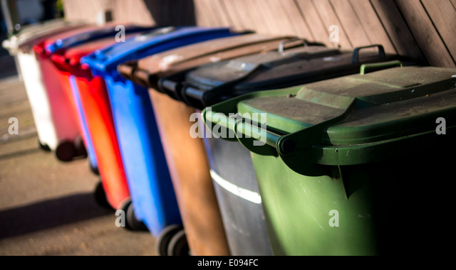 Wheelie Bins for Recycling Rubbish. - Stock Image