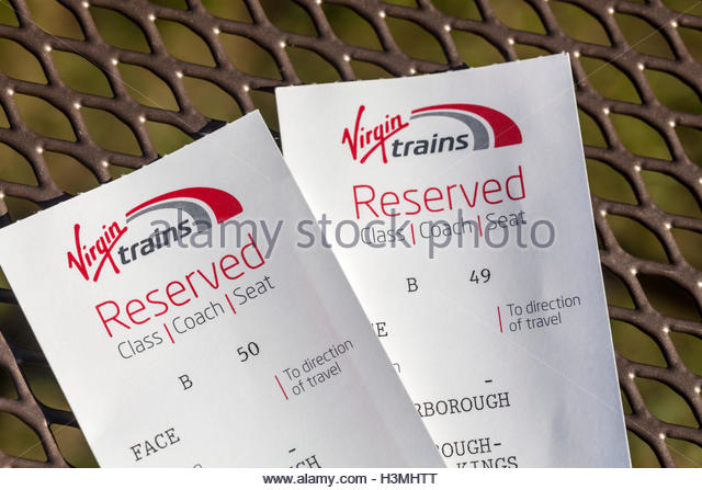 Seat Reservation Tickets for Virgin Trains - Stock Image