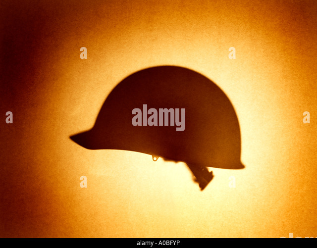 Hat Army Helmet K-Pot personal armor head cover safety military hardhat  men women man woman silhouette shadow - Stock Image