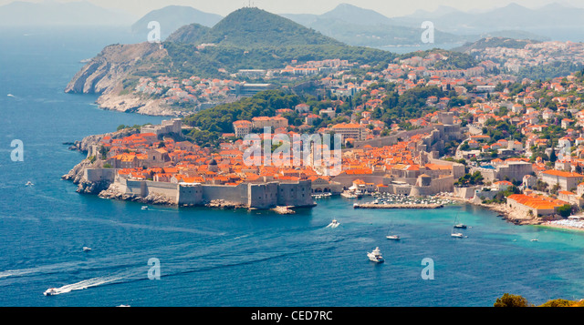Aerial view on old part of Dubrovnik UNESCO twon in Croatia. - Stock Image