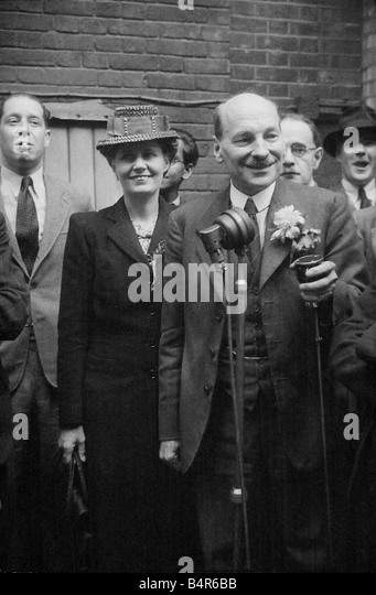 Mr Clement Attlee after Labours election victory of July 1945 seen here with his wife and his advisors - Stock Image