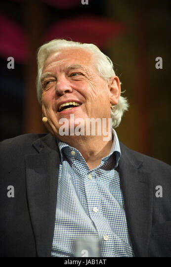 John Simpson BBC journalist speaking about his life & career on stage at Hay Festival 2017 Hay-on-Wye Powys - Stock Image