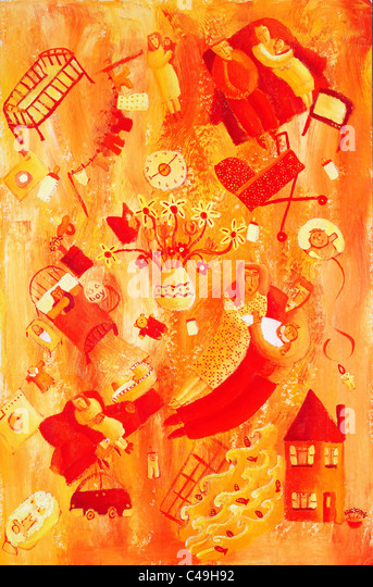 Acrylic painting of the arrival of a new born baby - Stock Image