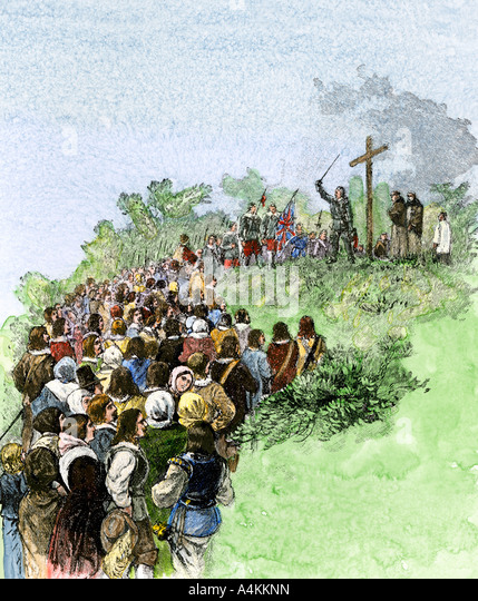 Leonard Calvert planting a cross to mark the first settement of Maryland Colony 1634 - Stock Image