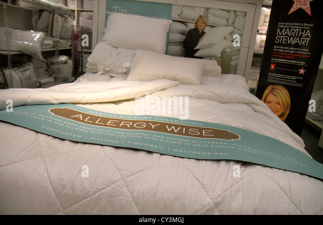 Rhode Island Providence Providence Place Mall shopping Macy's department store retail display for sale bedding - Stock Image
