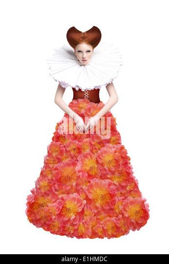 Red Hair Duchess. Retro Fashion Woman in Classic Jabot. Renaissance. Fantasy - Stock Image