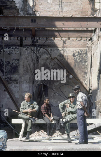 National Guard in Detroit During Riot, 1967 - Stock Image