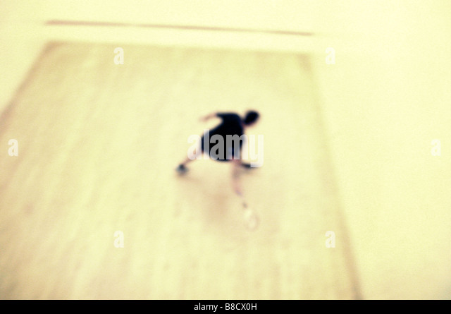 FV2016, Benjamin Rondel; Blurry overview  person playing squash - Stock Image