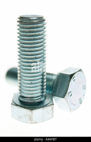 Two screws on white background - Stock Image