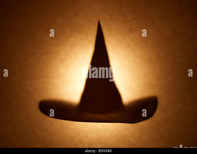 Black Witches hat shadow - Stock Image