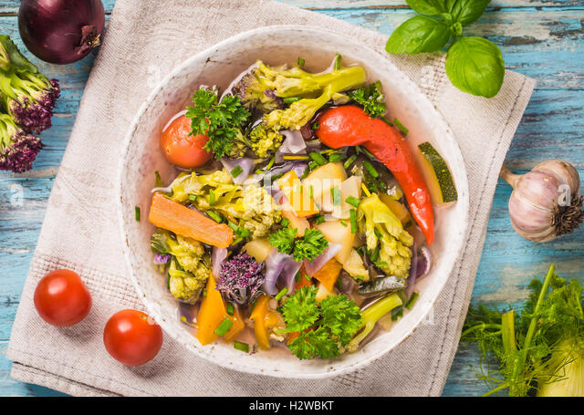 Vegetable stew above - Stock Image