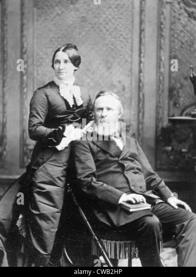 President Rutherford B. Hayes with First Lady Lucy Ware Webb Hayes, ca. 1880 - Stock Image