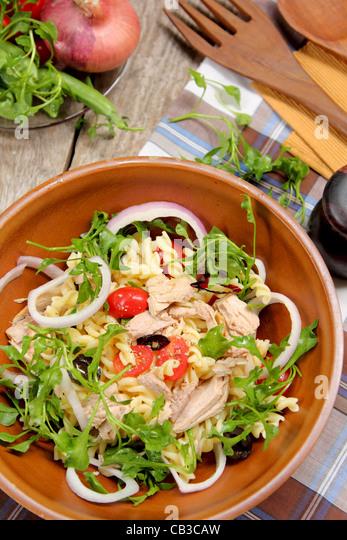 Pasta salad with tuna - Stock Image