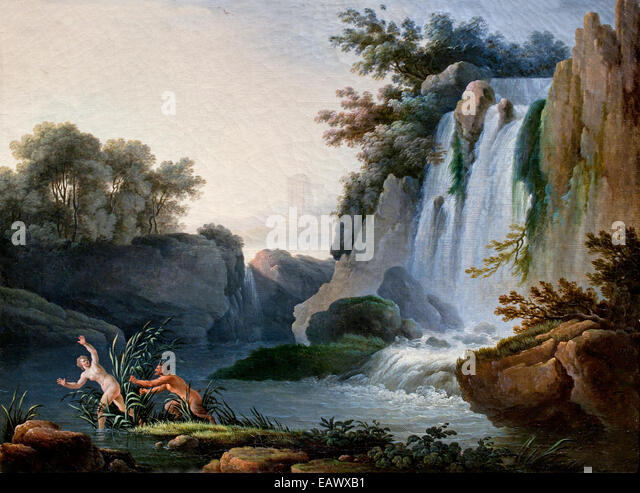 Pan and Syrinx ( Greek Mythology ) Jean Henry - Henry D`Arles 1734 - 1784  France French - Stock Image