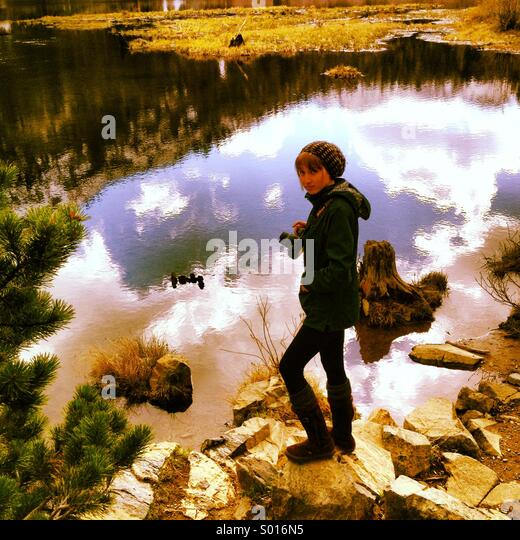 A shot of photographer Erin Donnelly Ellis at Fallen Leaf Lake in Tahoe California - Stock Image