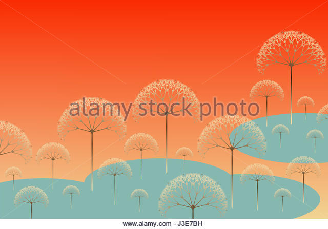 poetic trees landscape in spring shades - Stock Image