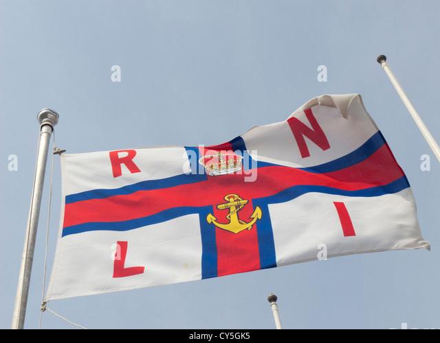 Royal National Lifeboat Institution RNLI flag. - Stock Image