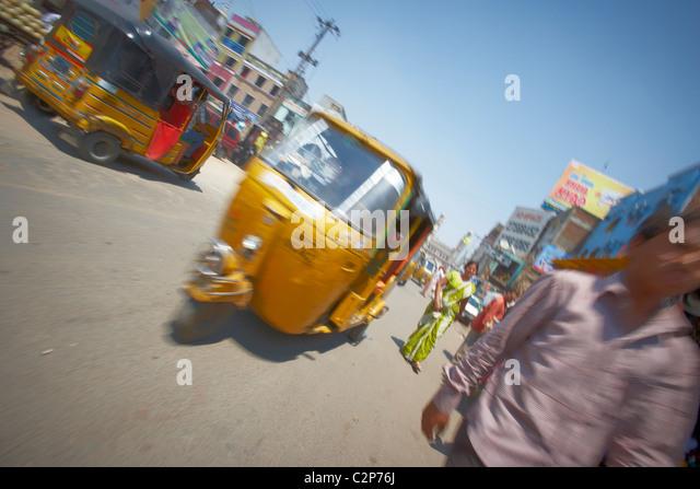 Rickshaw journey in India. - Stock Image