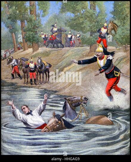 Illustration showing the accidental drowning of a French cavalry officer. 1900. (French 1900) - Stock Image