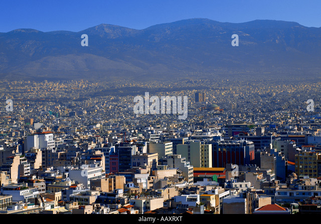 Athens overview from Acropolis - Stock-Bilder