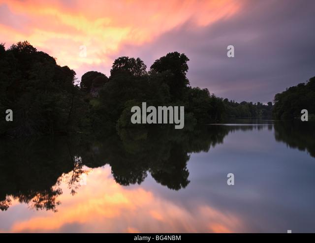 Fonthill Lake,  near Fonthill Bishop, Wiltshire, UK, at sunset - Stock Image